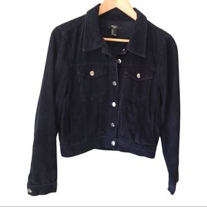 Forever 21 Navy Blue Corduroy Cropped Jacket L